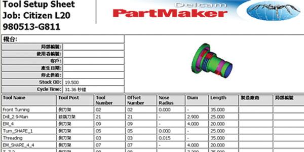 PartMaker 輸出正確的 NC 程式及表單